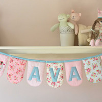 Personalised padded name bunting 'Princess Rose' - for girls - floral pink, cream, aqua