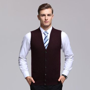 Autumn winter casual men Cardigan 2017 new v-neck fashion thick wool vest men sleeveless knitted vest waistcoats