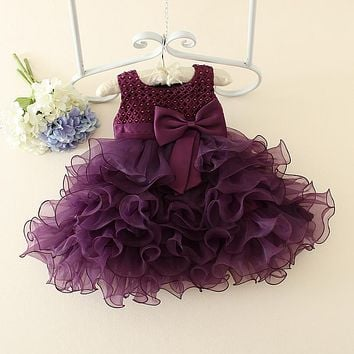 real photo flower girl dresses for party and wedding short bow girls gowns 5 colors 5 sizes customized