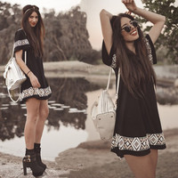New Summer Women dress o-neck short-sleeved national style printed women clothing casual Vestidos mini dress vintage boho black