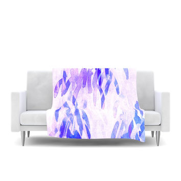 "Iris Lehnhardt ""Abstract Leaves III"" Blue Purple Fleece Throw Blanket"