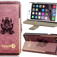 """Retro Style New Moon Pattern Faux Leather Flip Case with Mount Stand & Credit Card Slots for 5.5"""" iPhone 6 Plus"""