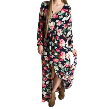 Umgee Navy Floral High Slit Maxi Dress