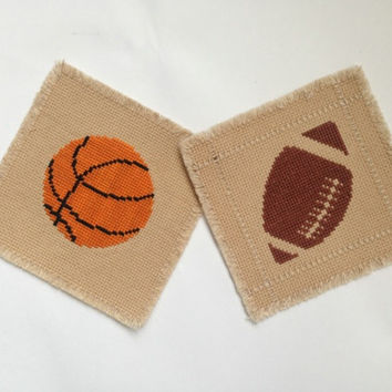 Sports theme coasters Set of two Square coaster Fabric coasters Cross stitch coasters Football and basketball  Tea dyed coasters