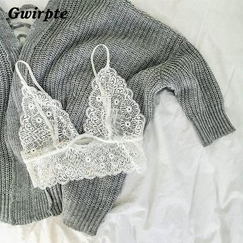 Sexy floral triangle white sheer Lace bra brassiere Transparent strappy intimates bralette Black women crop top 050