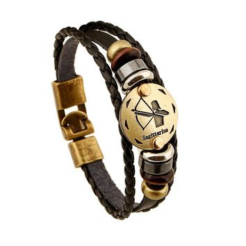 STYLEDOME Buckles Zodiac Signs Bracelet Punk Leather Bracelet