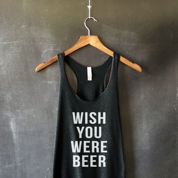 Wish You Were Beer Tank Top in Black