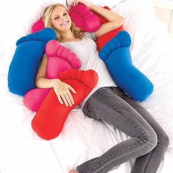 Body Pillow Giant Foot Microfiber Squishy Soft Neon Blue Pink Red Novelty NEW