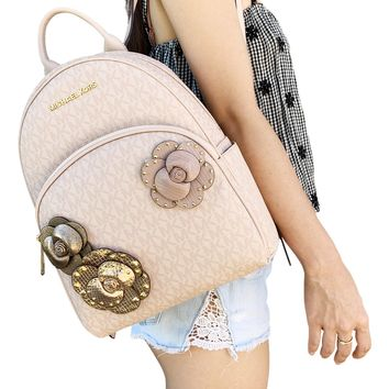 Michael Kors Abbey Medium Backpack Pink MK Signature Flower School Bag