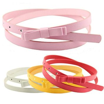 DCCKJG2 Bluelans Women's Candy Color 2 Layers Bowknot Thin Narrow Belt PU Leather Waistband Strap