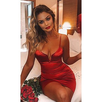 Welcome To The Party Satin Sleeveless Spaghetti Strap V Neck Bodycon Mini Dress - 3 Colors Available