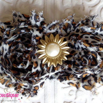 Flower Headband of Leopard Cheetah Print with Golden Sun Pearl Embellishment - Baby Headband, Toddler Headband, Girl Headband, Shabby Chic
