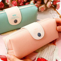 korean candy color pencil case PU leather school pencil bag for girl stationery estojo escolar school supplies