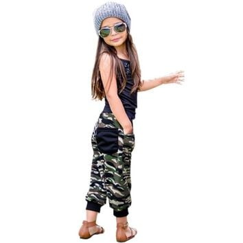 Girl's 2 Pc Set Includes, Tank Top and Camouflage Pants, Sizes 2T - 6T