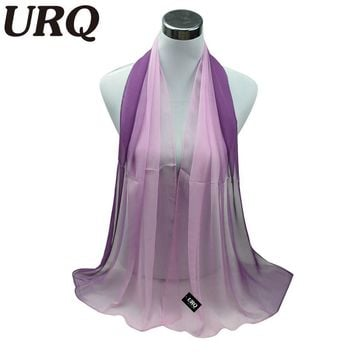1PC Hot Fashion Shawl Scarf Chiffon Glitter Ombre Hijab Neck Warmer Silk Scarf Women Girls Cape 50*160 Long Headband Q5A16007