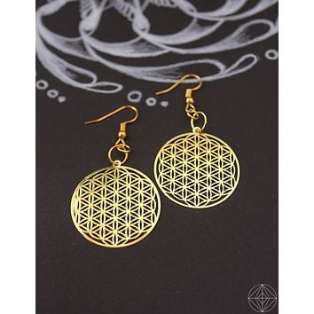 Sacred Geo Flower of Life Gold Earrings