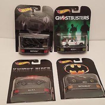 Set 4 Hot Wheels Retro Entertainment BATMOBILE,BATWING,ECTO-1, KITT Knight Rider