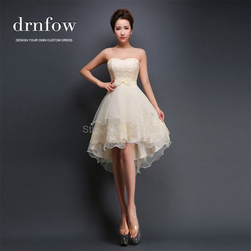 Brand New Sexy Strapless Short Homecoming Dresses Cheap Prom Hi-Lo Lace Bow Party Formal Dress Summer Style Color Champagne