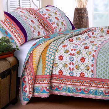 Quilt Set 100 Cotton 3 Piece with Shams Full/Queen Reversible Retro Bohemian Style Printed with Flowers Mandala Medallion Geometric