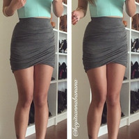 Shirring Mini Skirt - Grey