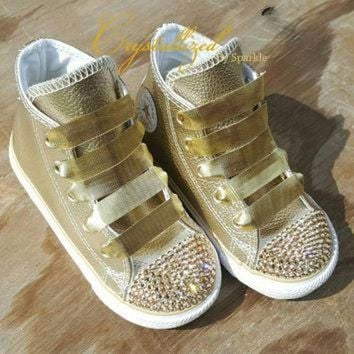DCKL9 Gorgeous Swarovski Crystal Metallic Gold Kids Bling Converse Chuck Taylor All Stars Ch