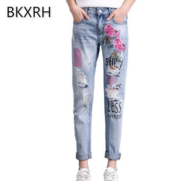 BKXRH Boyfriend Women Jeans Ripped Jeans for women Femme jean embroidered Jeans Embroidery Print Pants Stretchy Denim Pantalon