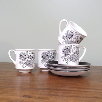 Vintage Grindley Ironstone Teacups and Saucers Set of Four Manitou Black and White Cups