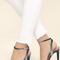 Everly Grey Velvet Ankle Strap Heels
