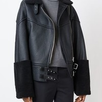 Mm6 Maison Margiela Artificial Shearling Zip Jacket - Societe Anonyme - Farfetch.com