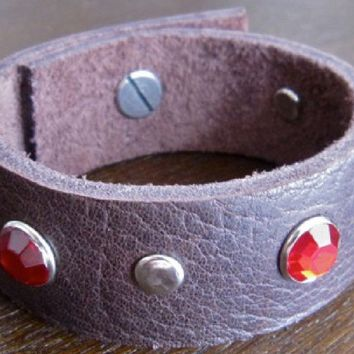Leather Bracelet - Brown Leather Cuff. With Red Crystals and Round Metal Studs