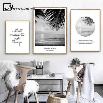NICOLESHENTING Scandinavian Style Landscape Canvas Poster Nordic Sunset Sea Beach Wall Art Print Painting Decorative Picture
