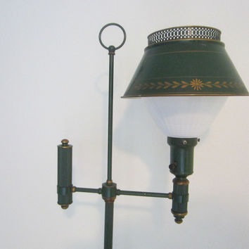 Architectural Green Tole Mid Century Modern Floor Lamp