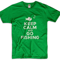 Keep Calm And Go Fishing Men Women Ladies Funny Joke Geek Clothes T shirt Tee Gift Present