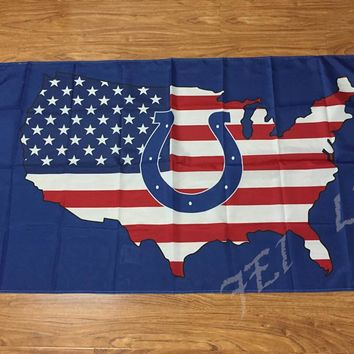 New style 3x5FT Indianapolis Colts Flag with American banner flag 100D Polyester NFL flag in hot sell Indianapolis Colts Flag