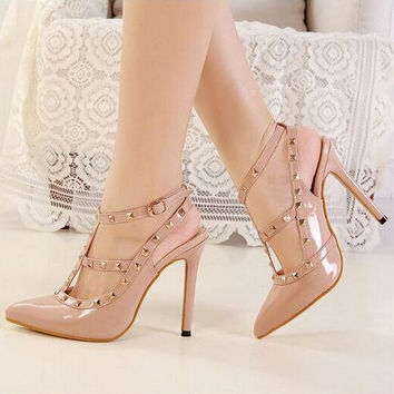 Women Fashion Rivet Hollow Buckle Band Shallow Mouth Pointed Toe Sandals Heels Shoes