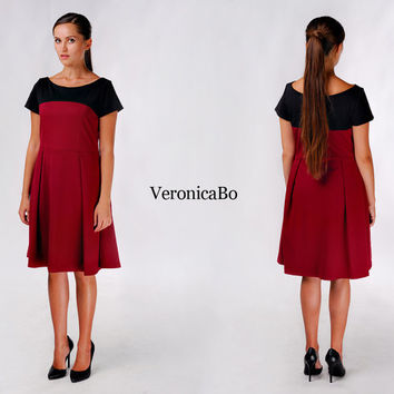 Marsala Dress / Deep Red Dress / Formal Dress / Elegant Dress / Skater Dress / Flared Skirt / Contrast Color Dress / Knee Length Dress