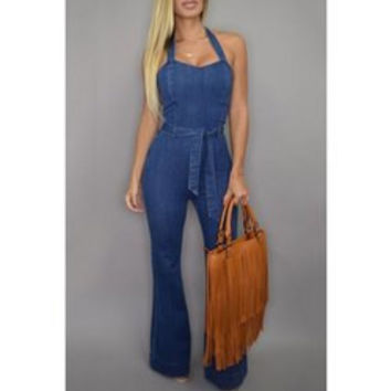 Elegant Halter Blue Sleeveless Jumpsuit For Women