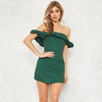 Temperament Fashion Solid Color Frills Off Shoulder Short Sleeve Bodycon Mini Full Dress