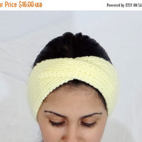 SALE Yellow Hair Accessory Pastel Yellow Headband Hand Knitted Headband Yellow Knit Headband Pastel Knit Headband Yellow Head Band Hair Acce