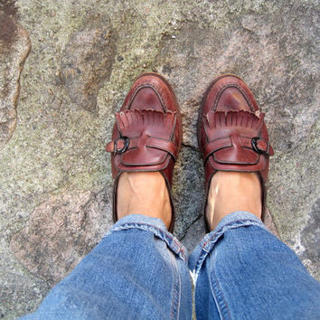 Loafers Vintage Brown Granny Shoes Fringe Leather Penny Loafers Retro Shoes