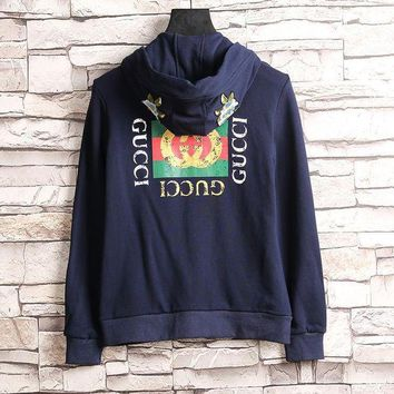 LMFUX5 GUCCI Flower Embroidery Hooded Casual Long Sleeve Cardigan Jacket Coat-2