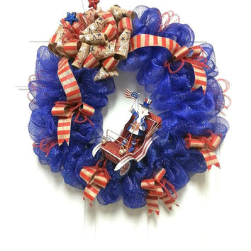 Red, White and Blue, Stars and Stripes, Patriotic, Burlap, Deco Mesh Wreath