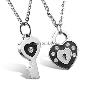 2pcs Mens Womens Couples Stainless Steel with Rhinestone Lock and Key Pendant Lover Necklace 2015 fashion Necklaces
