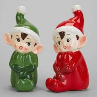 Vintage-Inspired Elf Salt + Pepper Shaker Set- Multi One