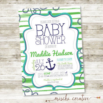 "Anchors Away! Nautical Seaside Anchors and Stripes Baby Shower DIY Printable Invitation in Green, Aqua and Blue - 5"" x 7"""