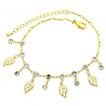 Gold Layered 03.63.1298.08 Charm Bracelet, Leaf Design, with White Cubic Zirconia, Diamond Cutting Finish, Gold Tone
