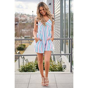 Never Out Of Line Striped Romper (Pink/Emerald/Blue)