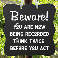 Beware, Warning, Sign, Home, Surveillance, Security, Video, Camera, Private Property, No Trespassing, Do Not Disturb, No Soliciting, Door