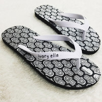 Black Hamsa Shower Flops