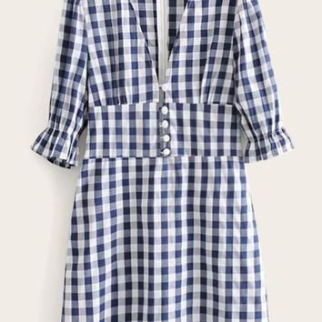 Covered Button Wide Waist Gingham Dress